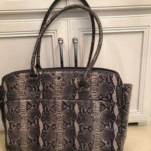 Lodis briefcase-leather snake pattern